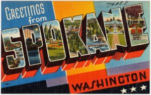 Postcard saying greetings from Spokane, Washington